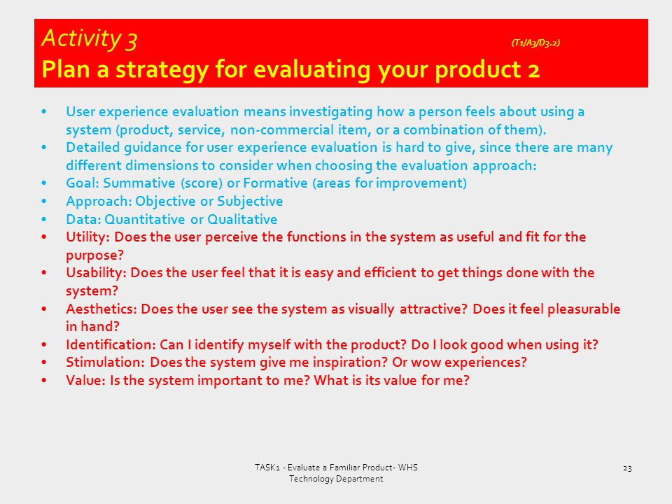 Activity 3 (T1/A3/D3.2) Plan a strategy for evaluating your product 2