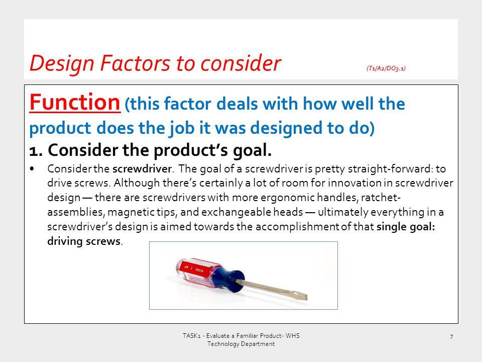 Design Factors to consider (T1/A2/DO3.1)