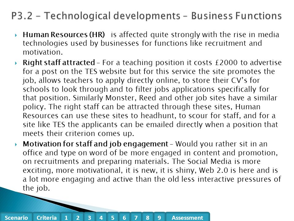 P3.2 - Technological developments – Business Functions