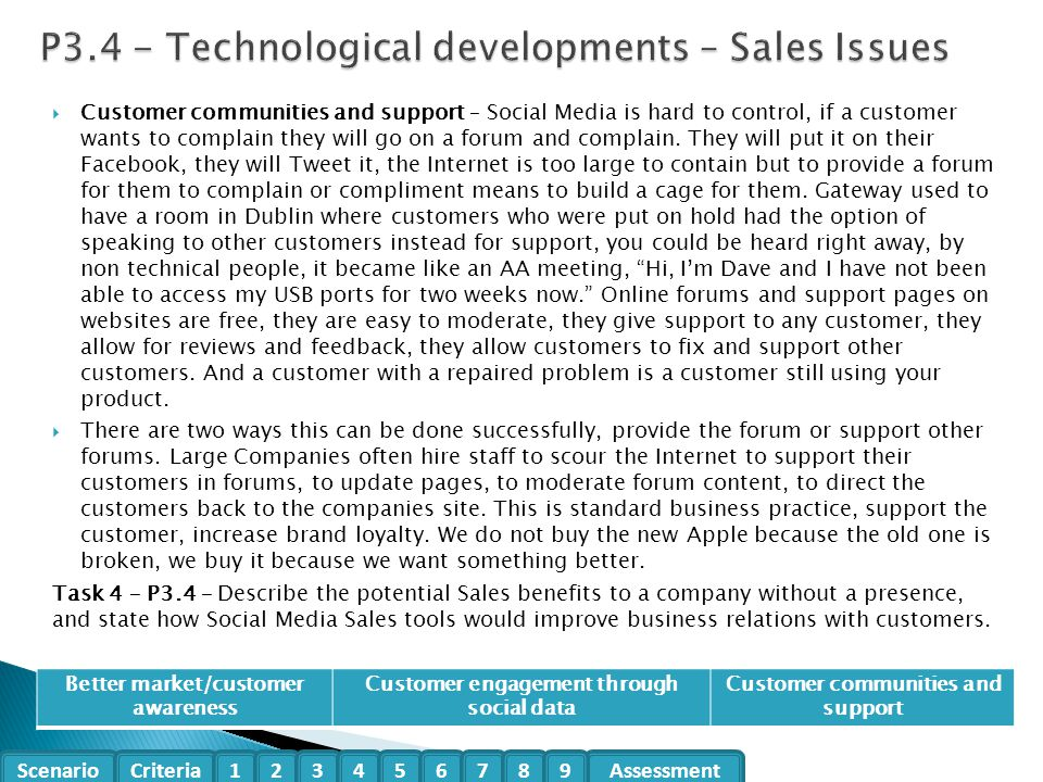 P3.4 - Technological developments – Sales Issues