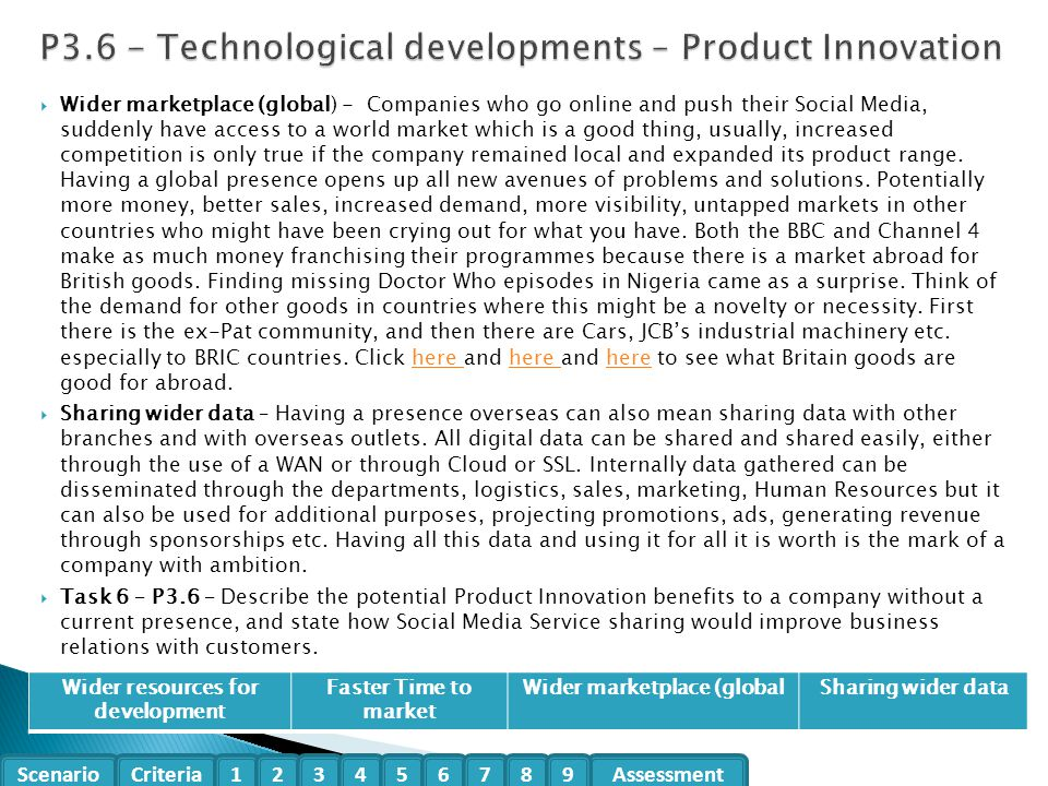 P3.6 - Technological developments – Product Innovation