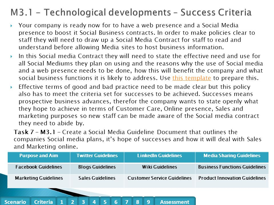 M3.1 - Technological developments – Success Criteria