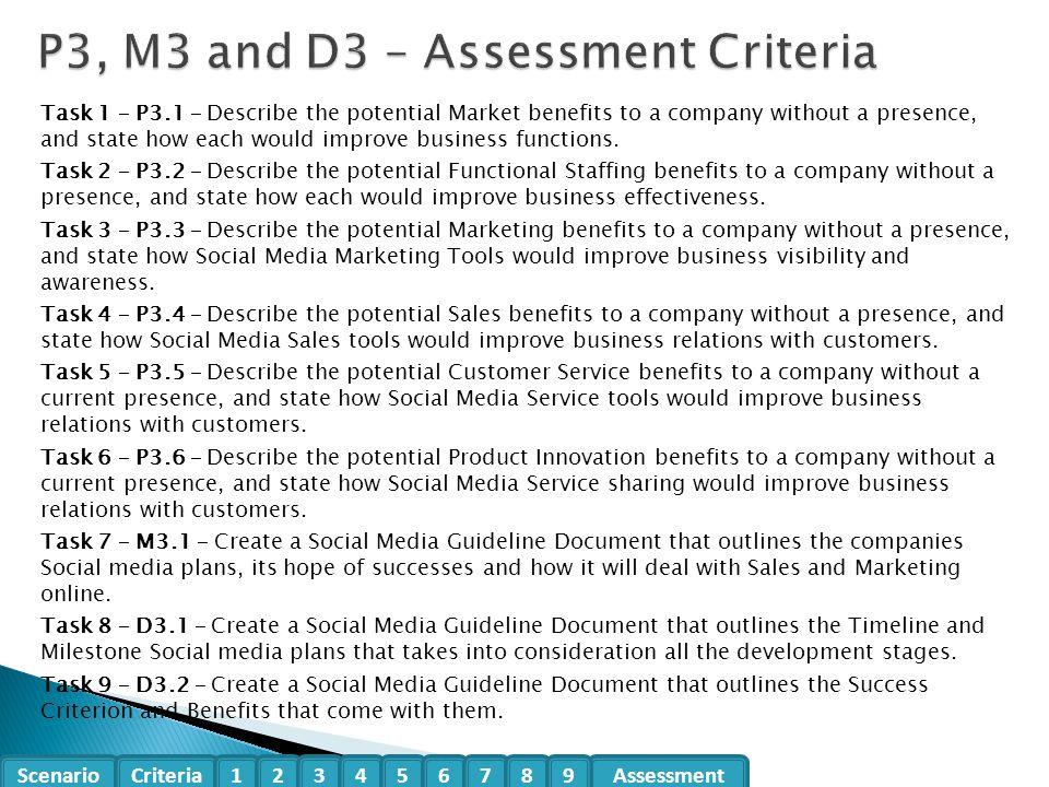 P3, M3 and D3 – Assessment Criteria