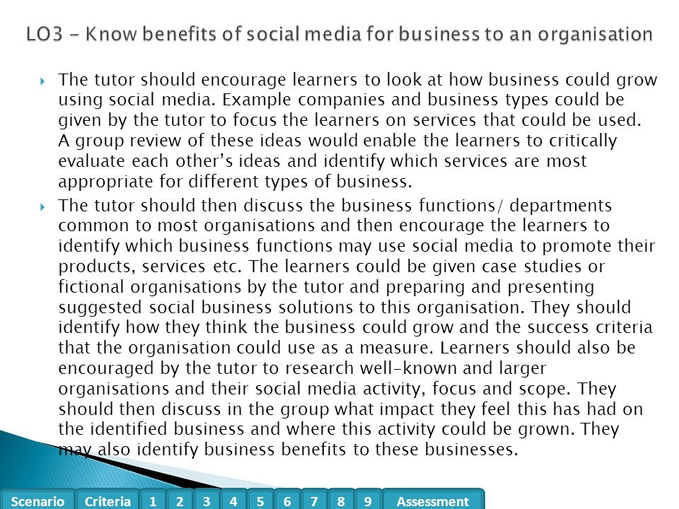 LO3 - Know benefits of social media for business to an organisation