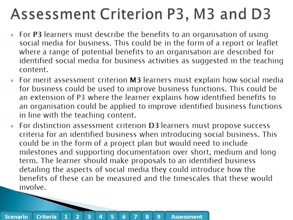 Assessment Criterion P3, M3 and D3
