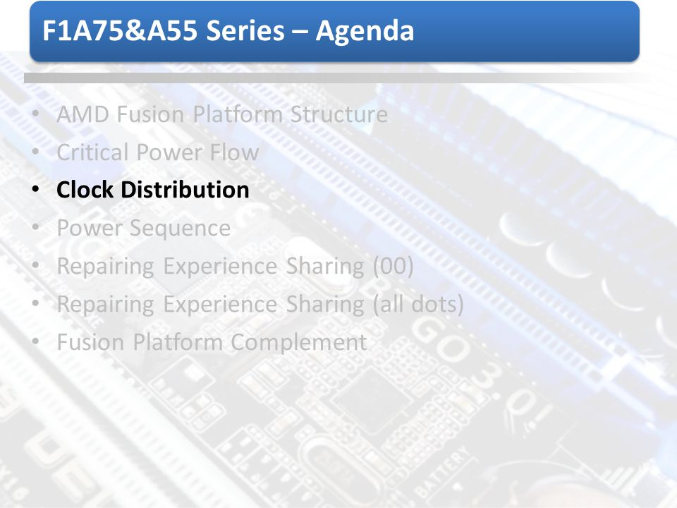 F1A75&A55 Series – Agenda AMD Fusion Platform Structure