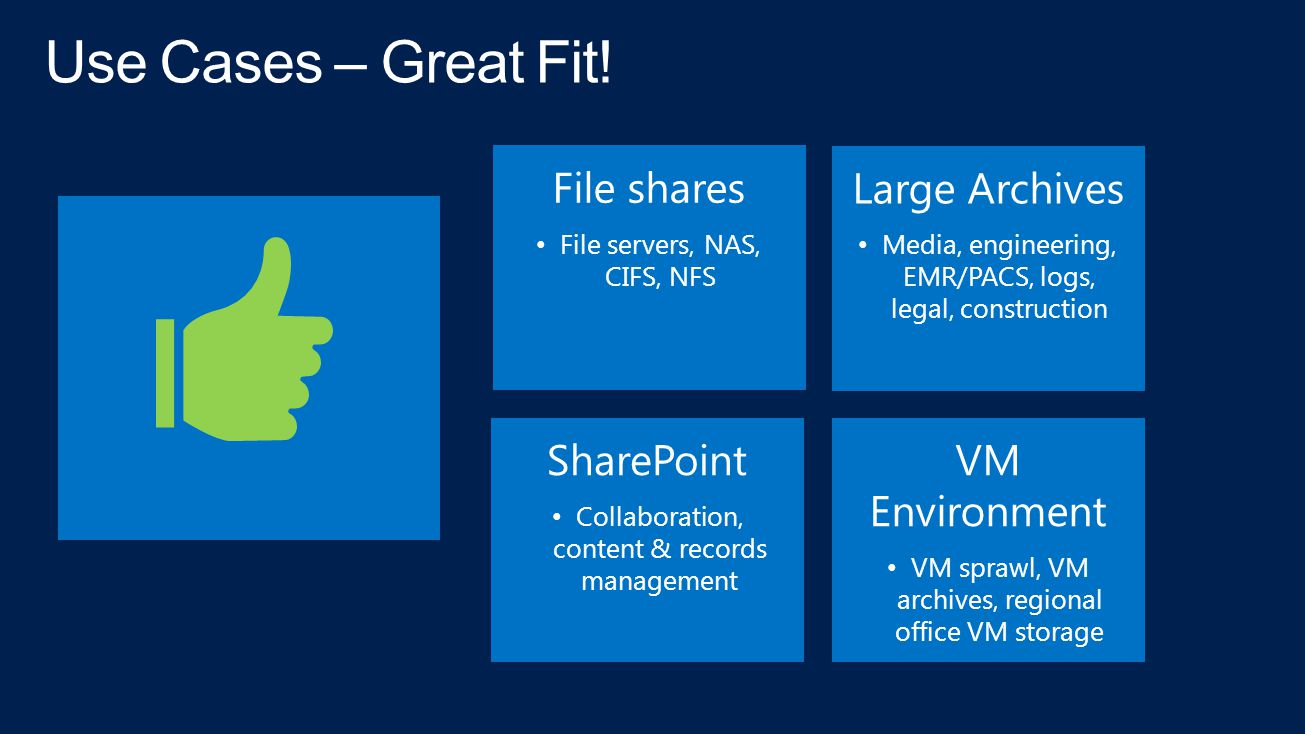 Use Cases – Great Fit! File shares Large Archives SharePoint
