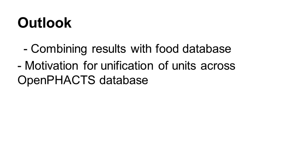 Outlook - Combining results with food database