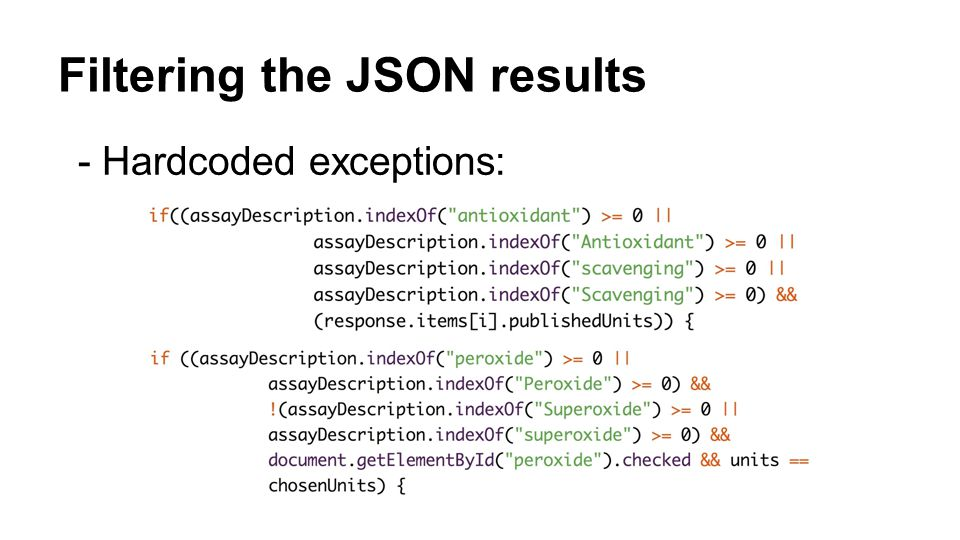 Filtering the JSON results