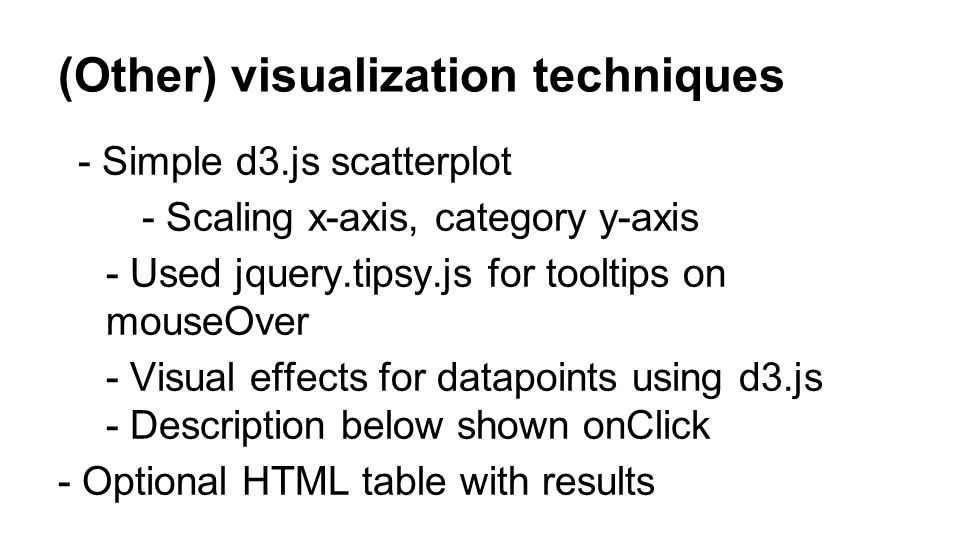 (Other) visualization techniques