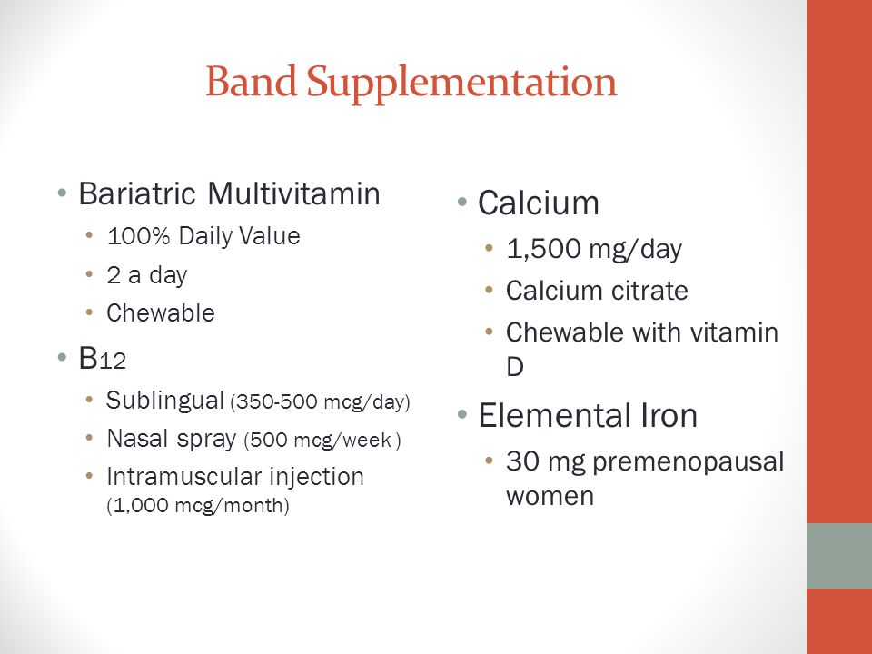 Band Supplementation Calcium Elemental Iron Bariatric Multivitamin B12