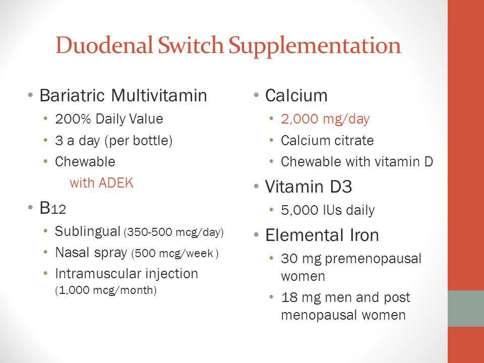 Duodenal Switch Supplementation