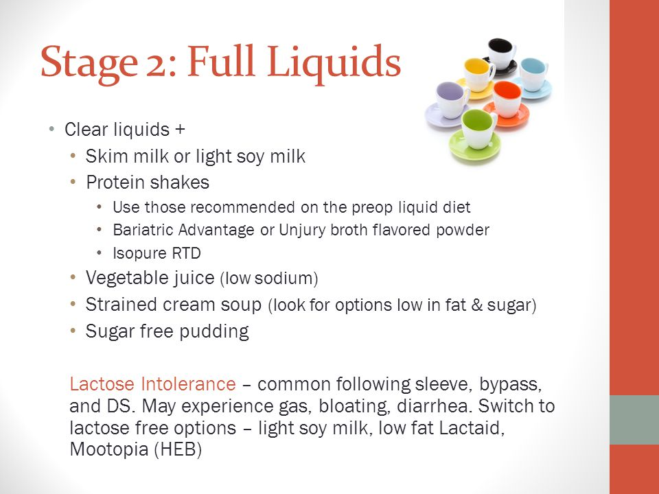 Stage 2: Full Liquids Clear liquids + Skim milk or light soy milk