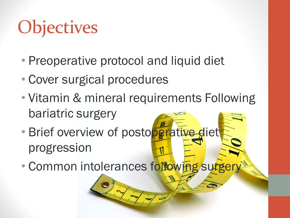 Objectives Preoperative protocol and liquid diet