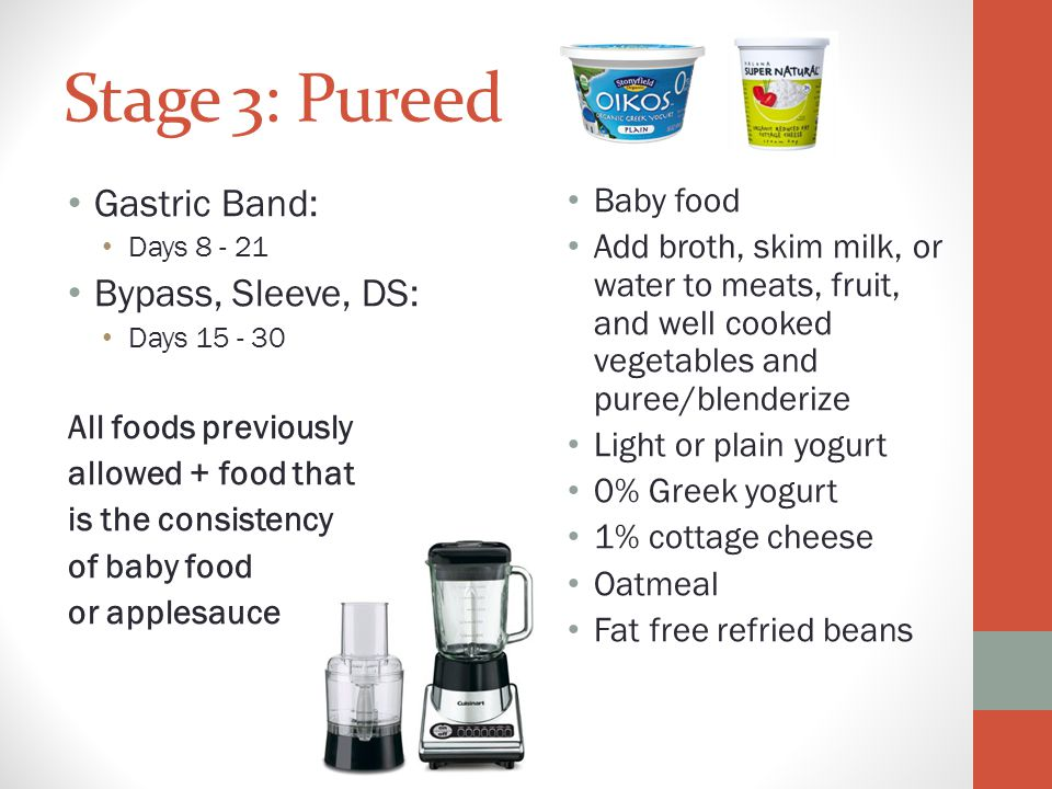 Stage 3: Pureed Gastric Band: Bypass, Sleeve, DS: Baby food