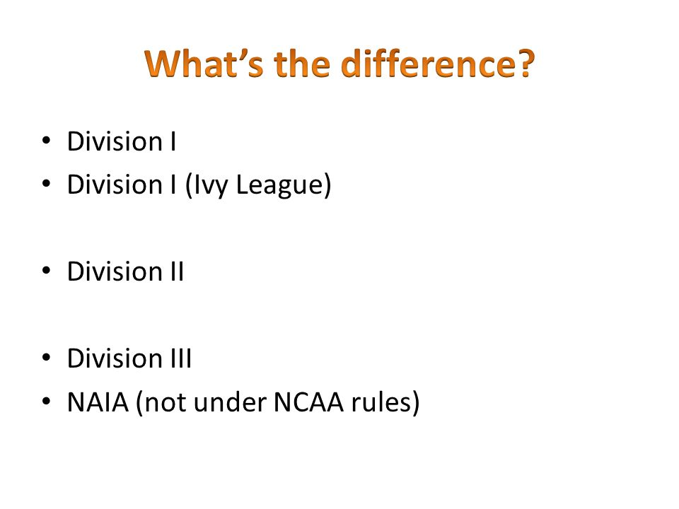 What's the difference Division I Division I (Ivy League) Division II