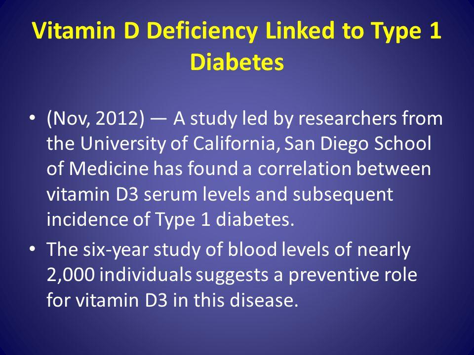 Vitamin D Deficiency Linked to Type 1 Diabetes
