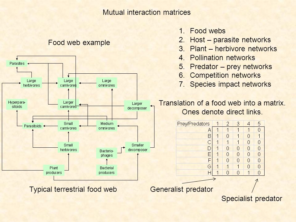 Mutual interaction matrices
