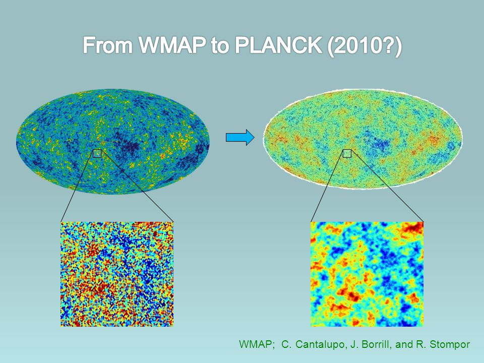 From WMAP to PLANCK (2010 ) WMAP; C. Cantalupo, J. Borrill, and R. Stompor