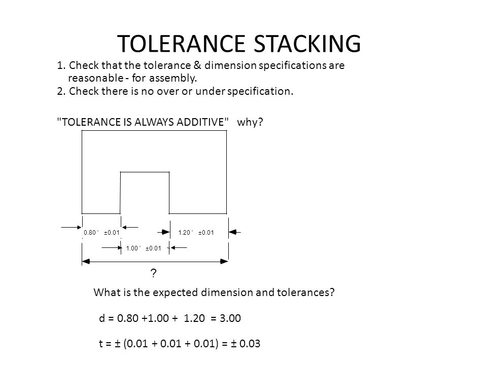 TOLERANCE STACKING 1. Check that the tolerance & dimension specifications are. reasonable - for assembly.