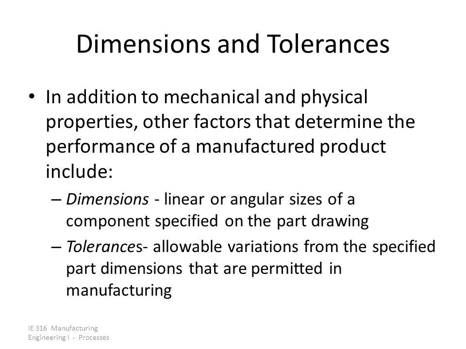 Dimensions and Tolerances
