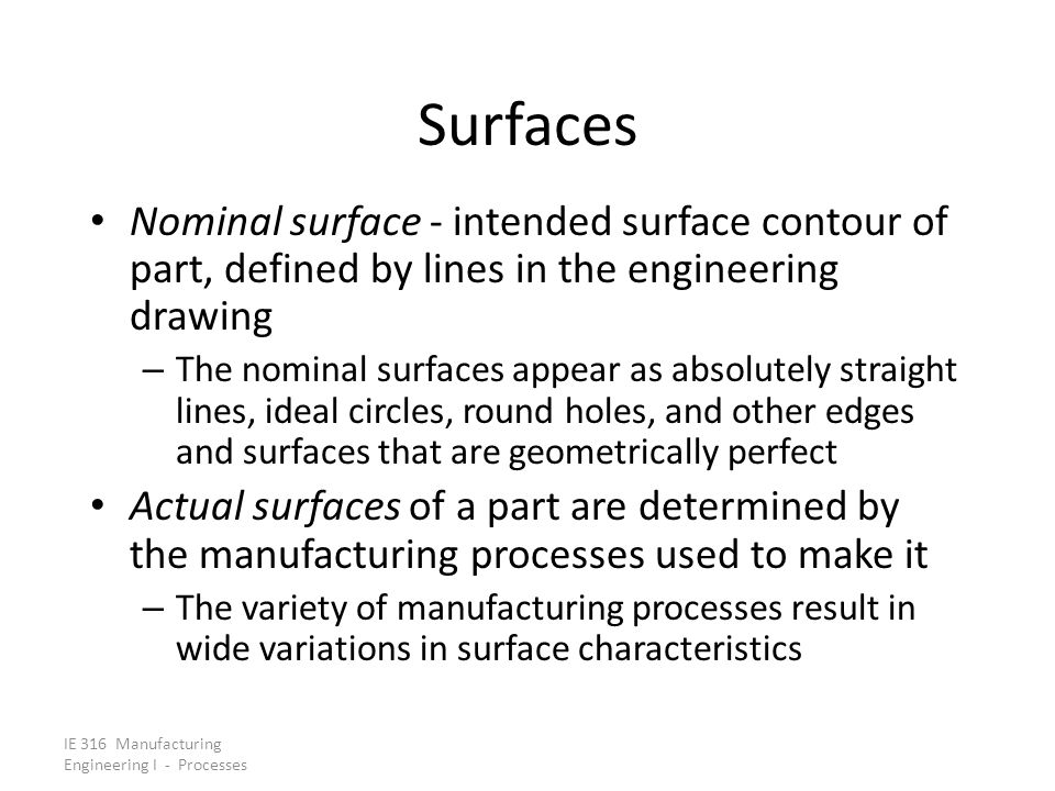 Surfaces Nominal surface - intended surface contour of part, defined by lines in the engineering drawing.