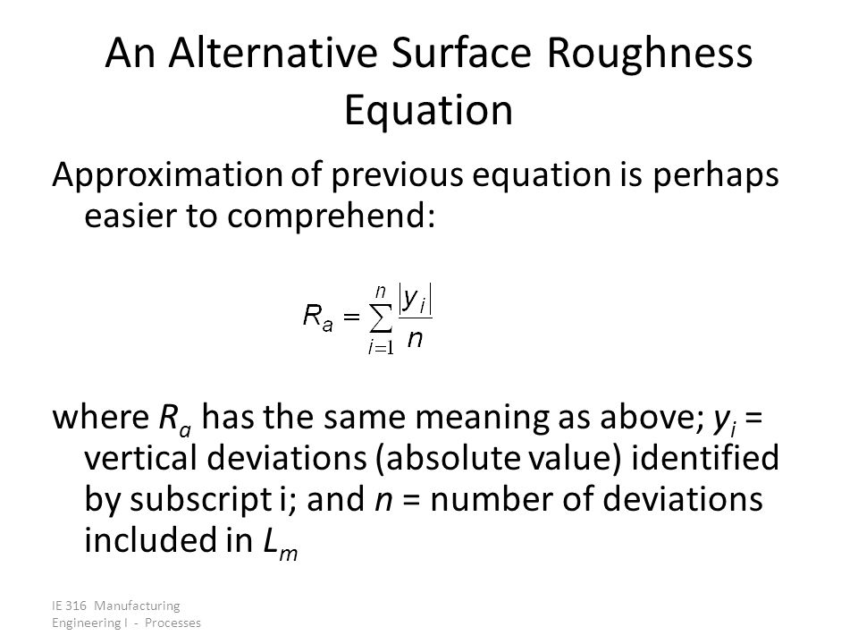 An Alternative Surface Roughness Equation
