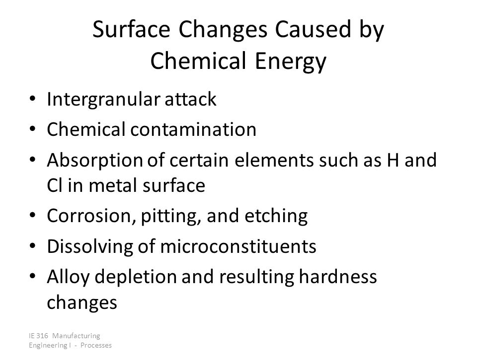 Surface Changes Caused by Chemical Energy
