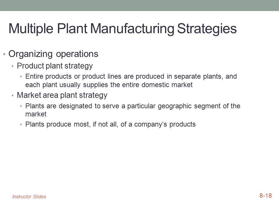 Multiple Plant Manufacturing Strategies