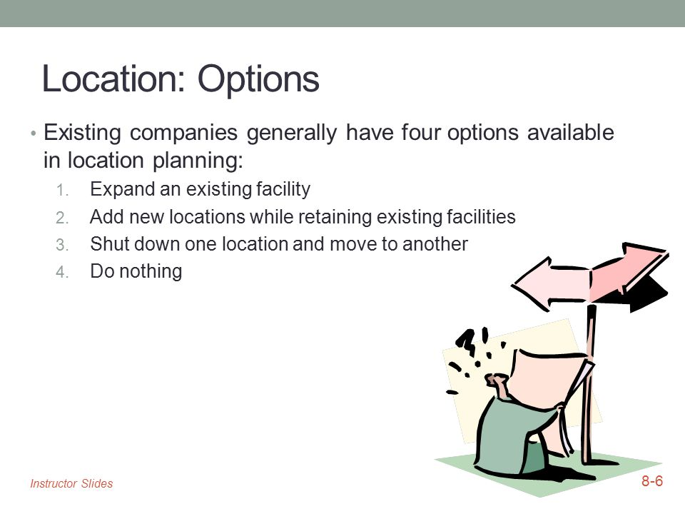Location: Options Existing companies generally have four options available in location planning: Expand an existing facility.