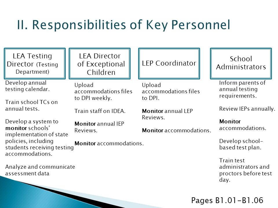 II. Responsibilities of Key Personnel