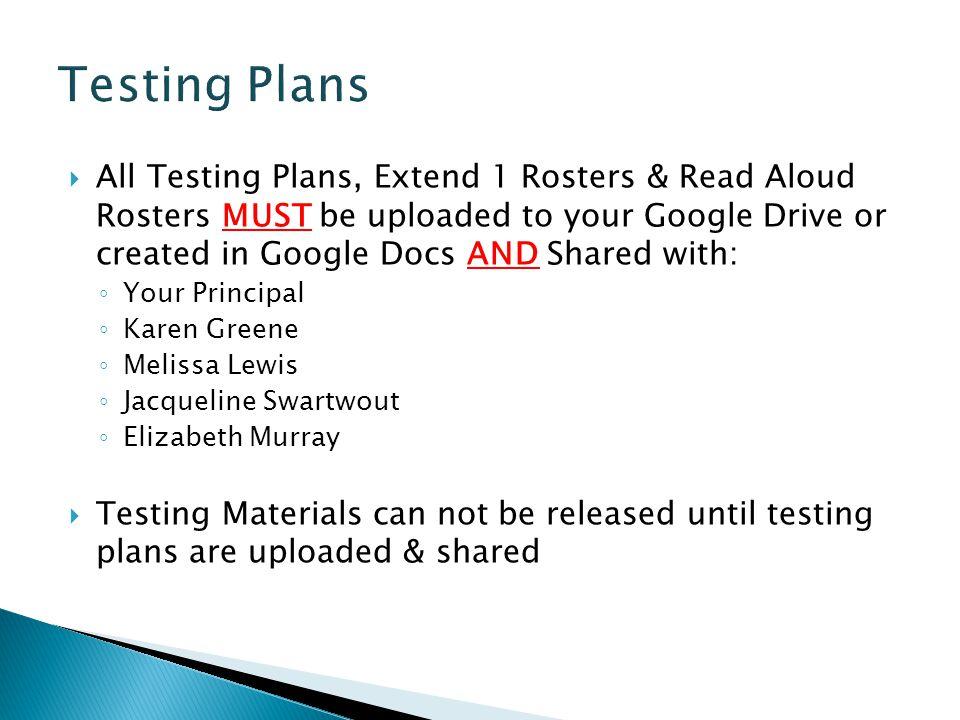 Testing Plans