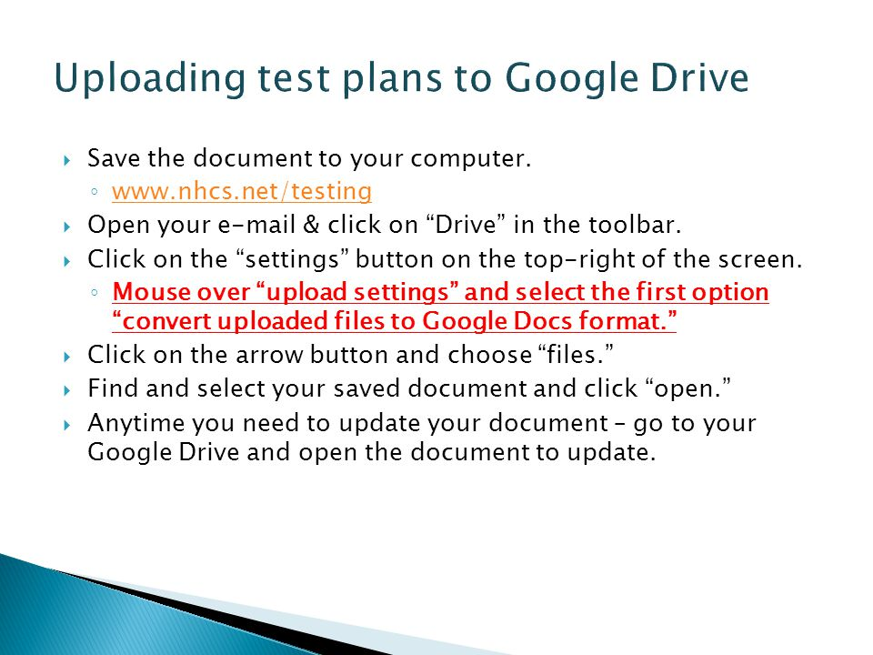 Uploading test plans to Google Drive