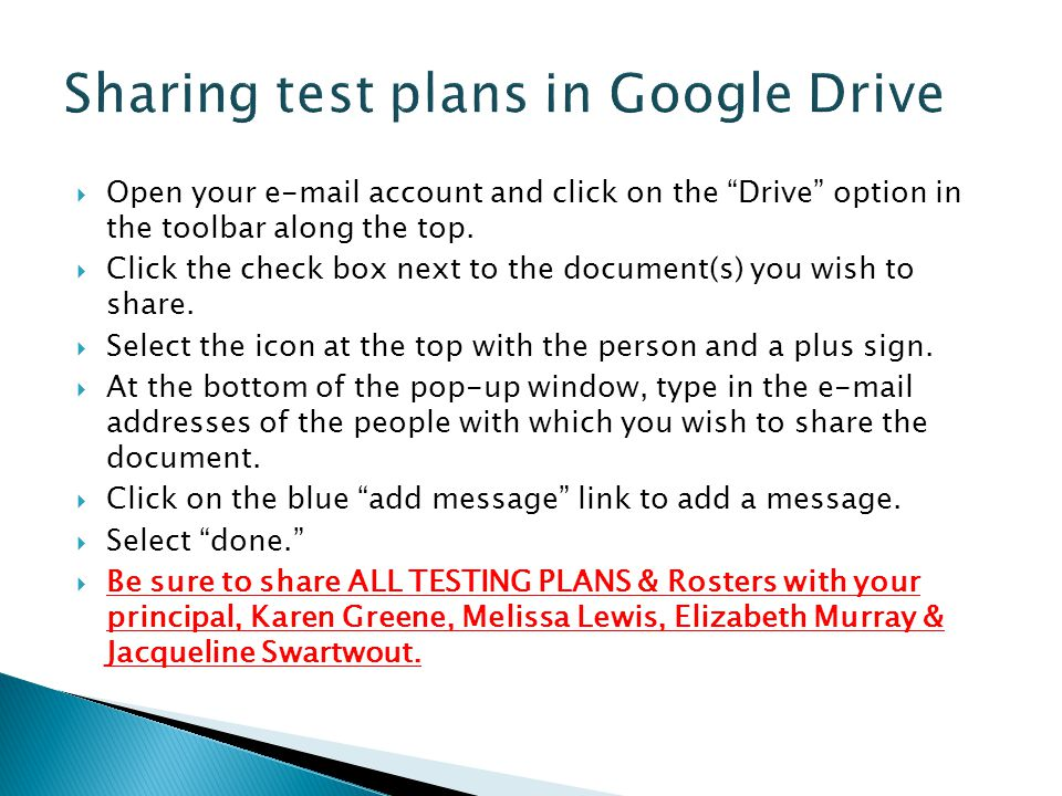 Sharing test plans in Google Drive
