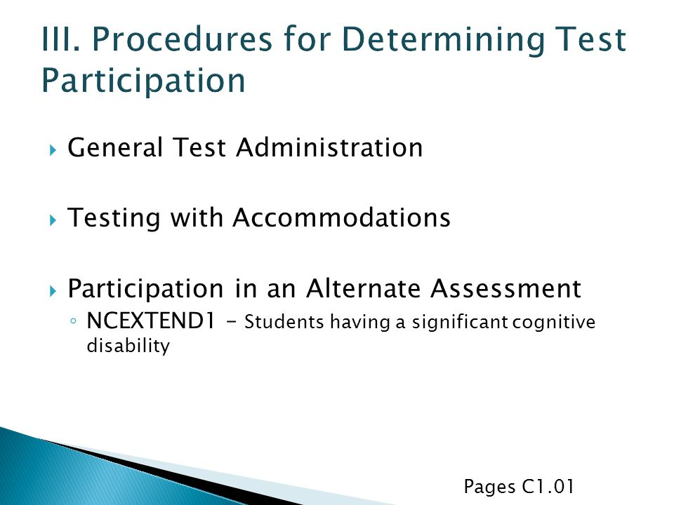III. Procedures for Determining Test Participation