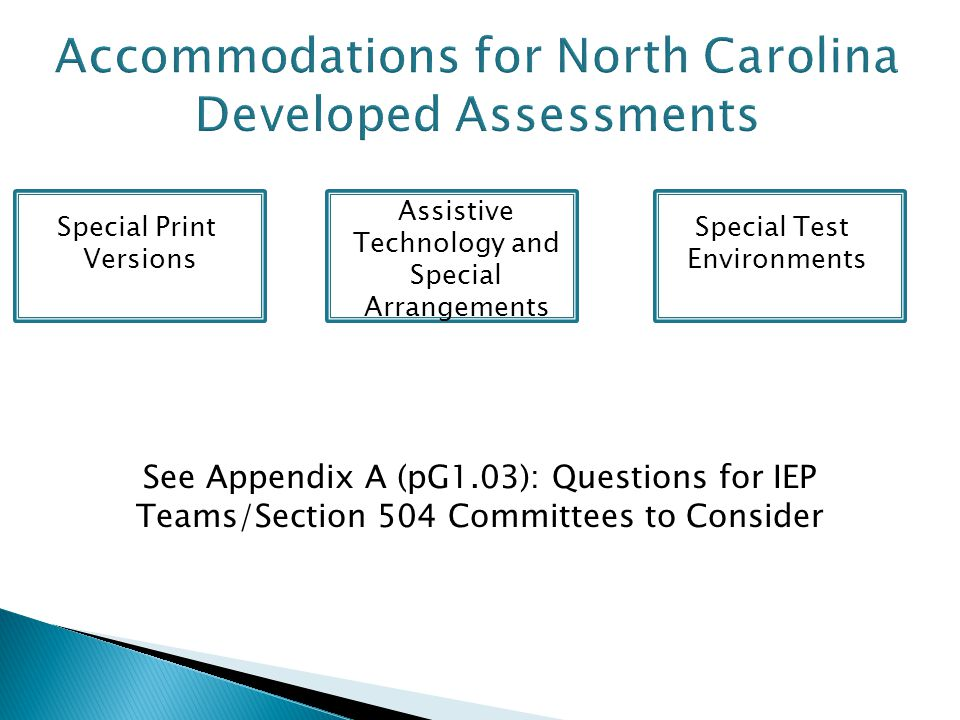 Accommodations for North Carolina Developed Assessments