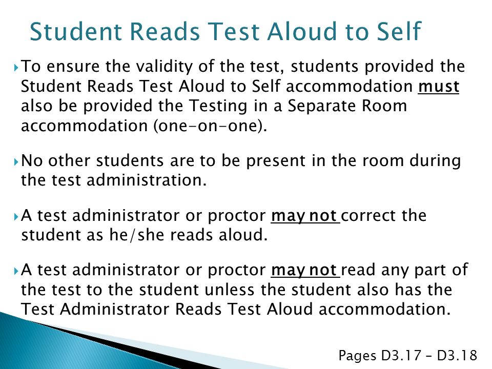 Student Reads Test Aloud to Self
