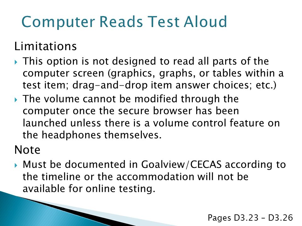 Computer Reads Test Aloud