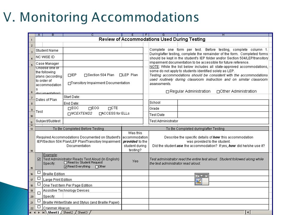 V. Monitoring Accommodations