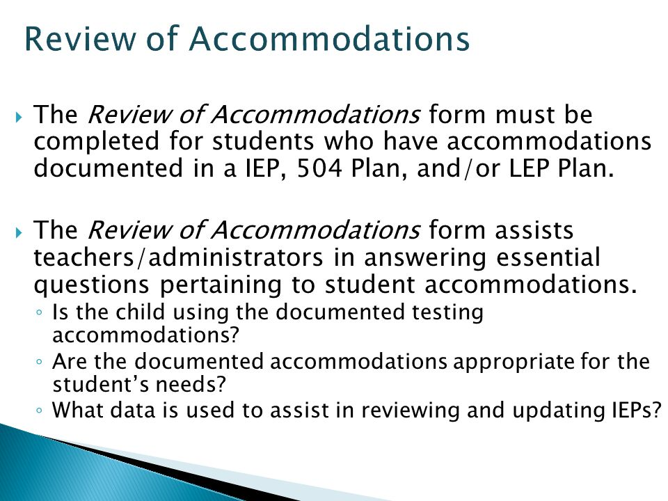 Review of Accommodations