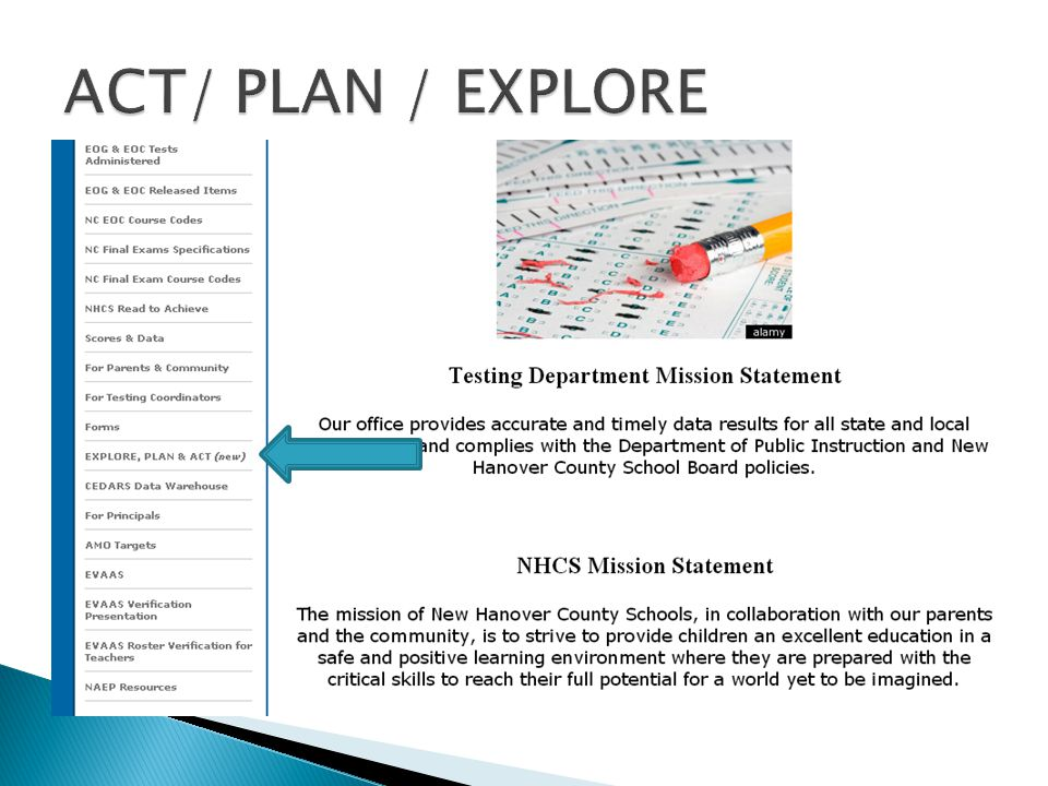 ACT/ PLAN / EXPLORE ACT / PLAN / EXPLORE website: Manuals and documents & the ACT & WorkKeys Timelines.