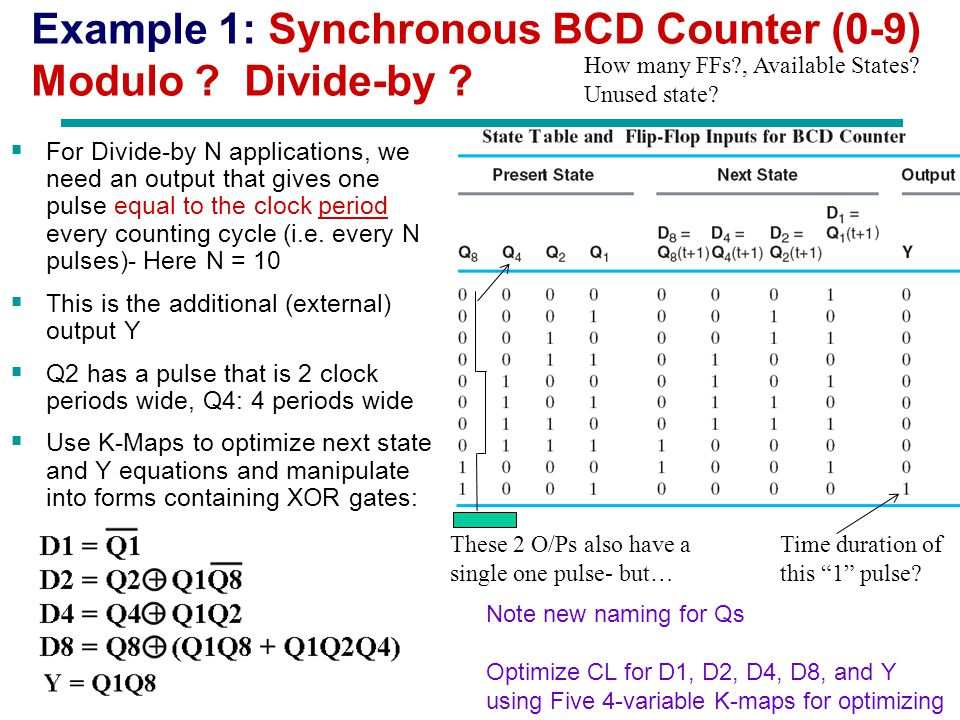 Example 1: Synchronous BCD Counter (0-9) Modulo Divide-by