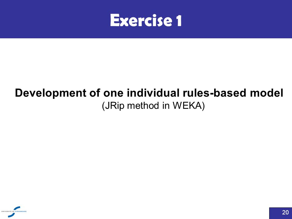 Exercise 1 Development of one individual rules-based model