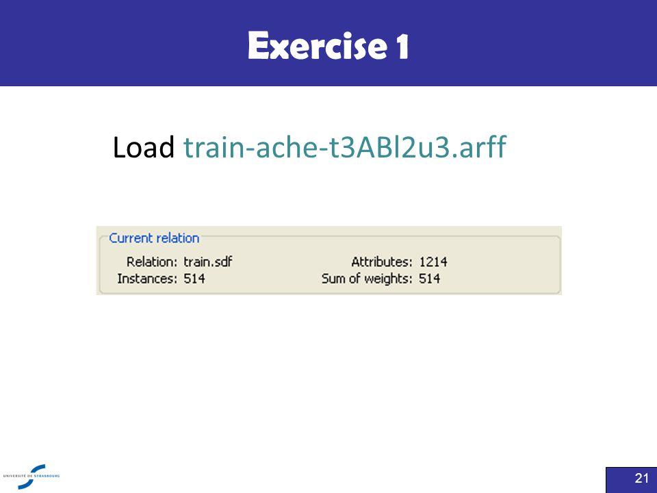 Exercise 1 Load train-ache-t3ABl2u3.arff
