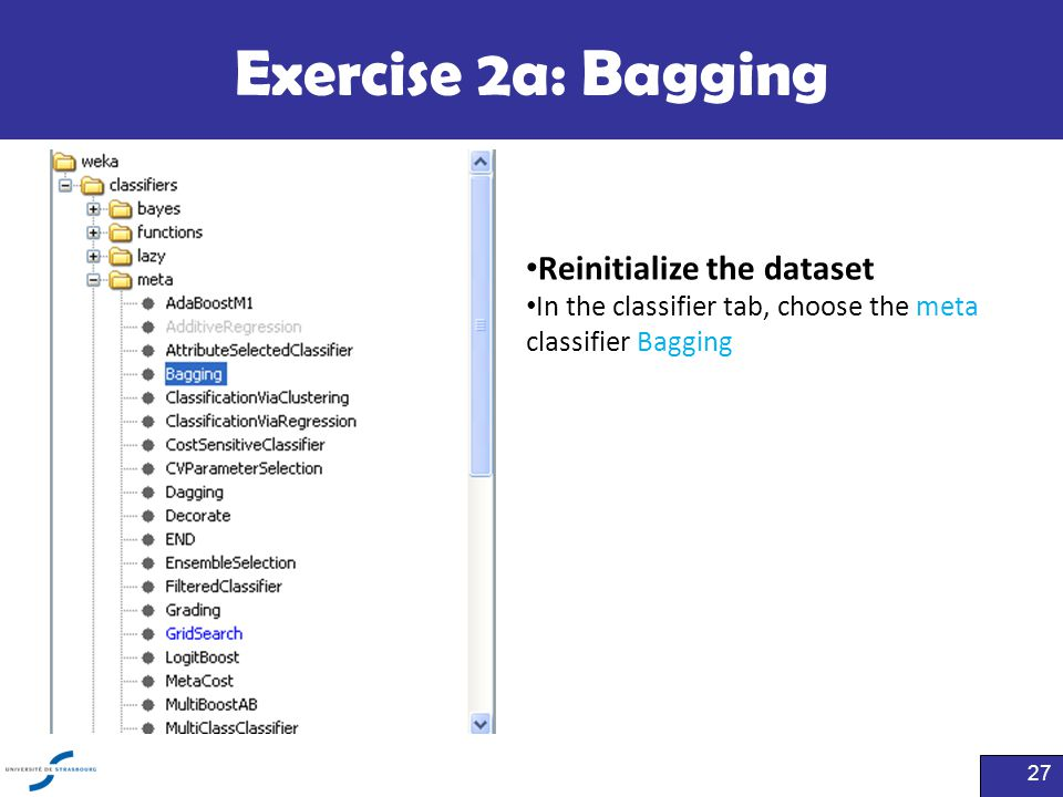 Exercise 2a: Bagging Reinitialize the dataset