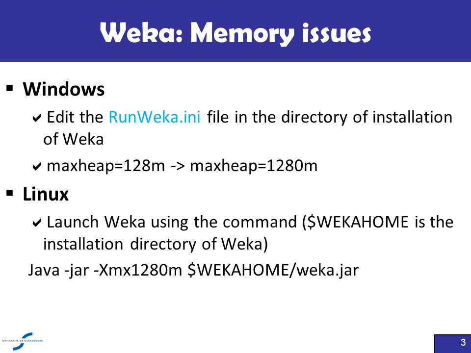 Weka: Memory issues Windows Linux