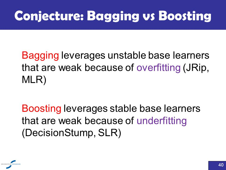 Conjecture: Bagging vs Boosting
