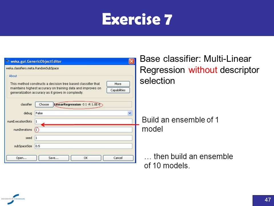 Exercise 7 Base classifier: Multi-Linear Regression without descriptor selection. Build an ensemble of 1 model.