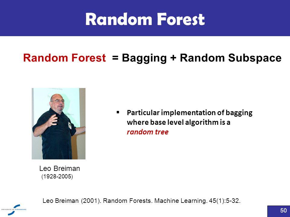 Leo Breiman (2001). Random Forests. Machine Learning. 45(1):5-32.