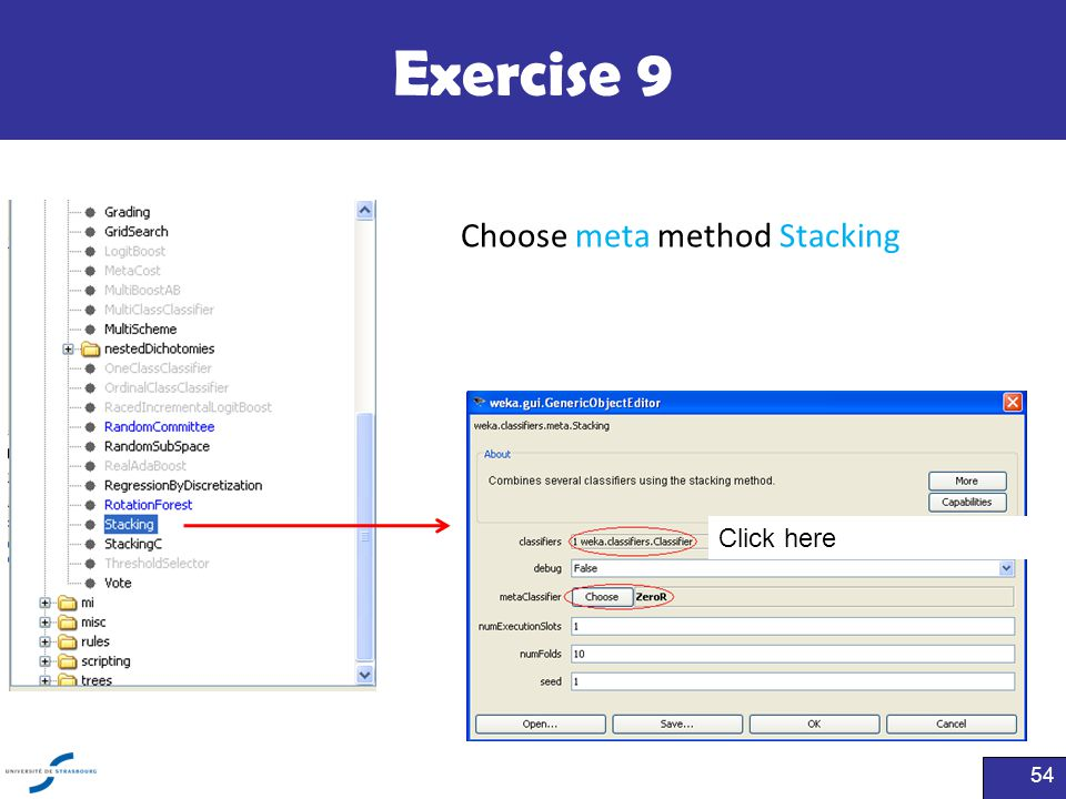 Exercise 9 Choose meta method Stacking Click here